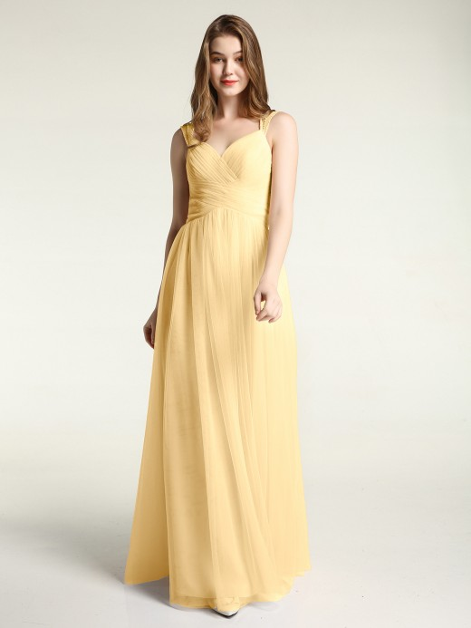 Babaroni Vera Cross-Pleated Tulle Long Dresses with Beaded Straps