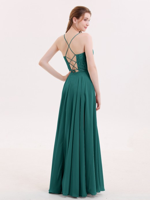 Babaroni Veronica Spaghetti Strap Lace Dress with Corset Back