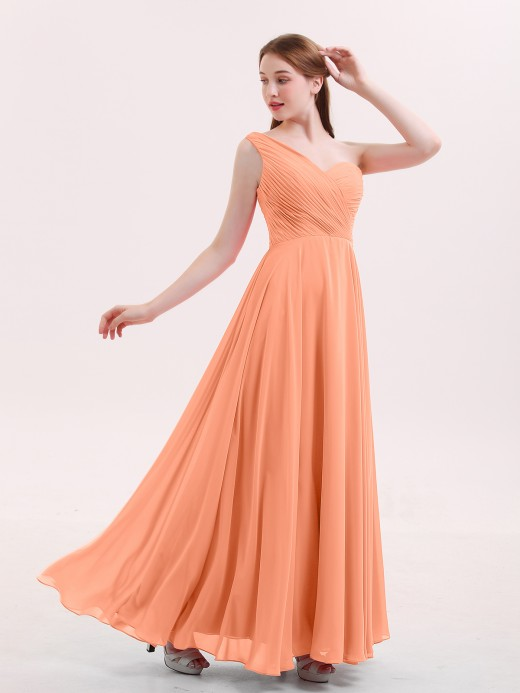 Babaroni Yedda One Shoulder Chiffon Long Bridesmaid Gown