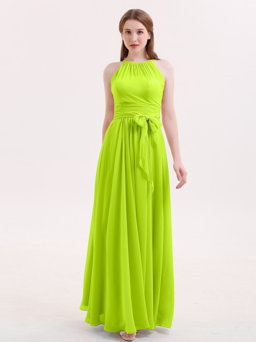 Babaroni Zenobia Halter Chiffon Bridesmaid Dresses with Bow Sash