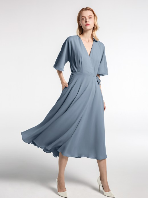 Babaroni Zona V-neck Half Sleeves Tea Length Chiffon Dress