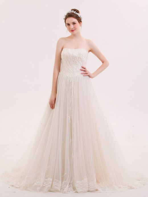 Babaroni Zora Ball Gown Strapless Beaded Wedding Dress