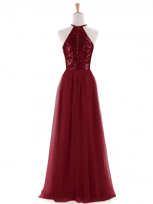 Aida Sequins and Tulle Halter Long Dress US6