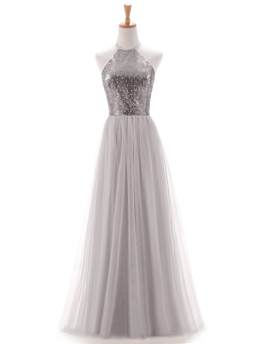 Babaroni Aida Sequins and Tulle Halter Long Dress