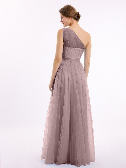Babaroni Angelina One Shoulder Mesh Wedding Party Bridesmaid Gown