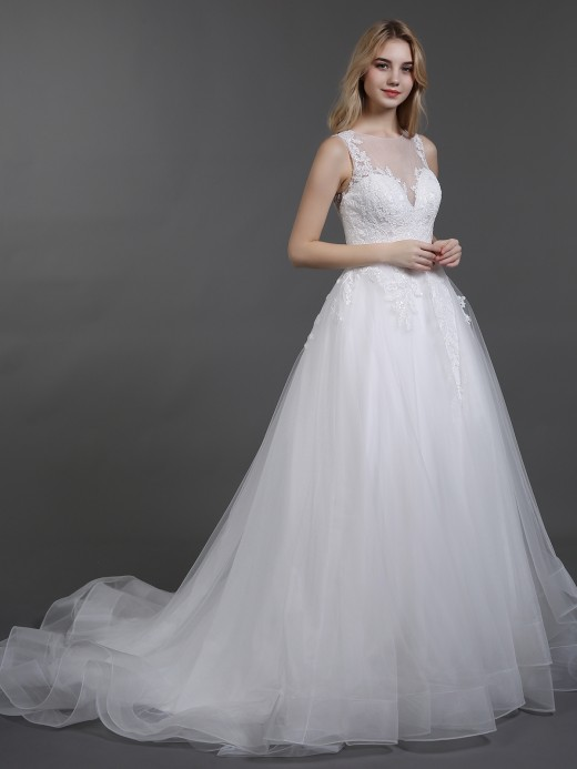 Babaroni Betsy Illusion Neck Lace and Tulle Wedding Dress