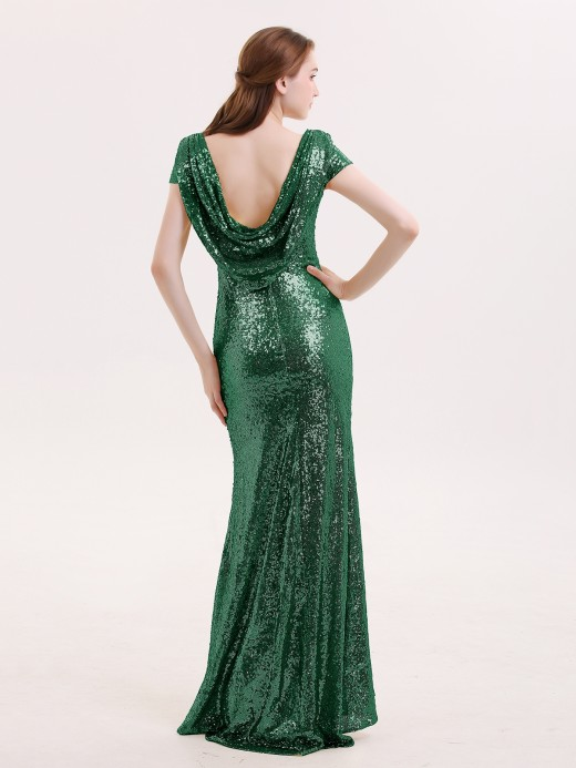 Babaroni Betty Sequins Lace Bridesmaid Dress with Cap Sleeves