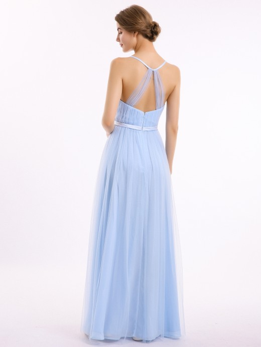 Babaroni Elina V Neck Tulle Long Dresses with Satin Sash