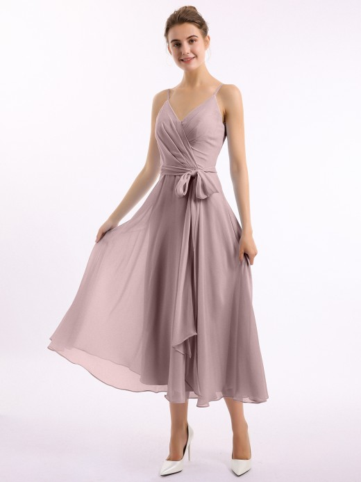 Babaroni Erin Spaghetti Strap T-length Dress with Sash Bow