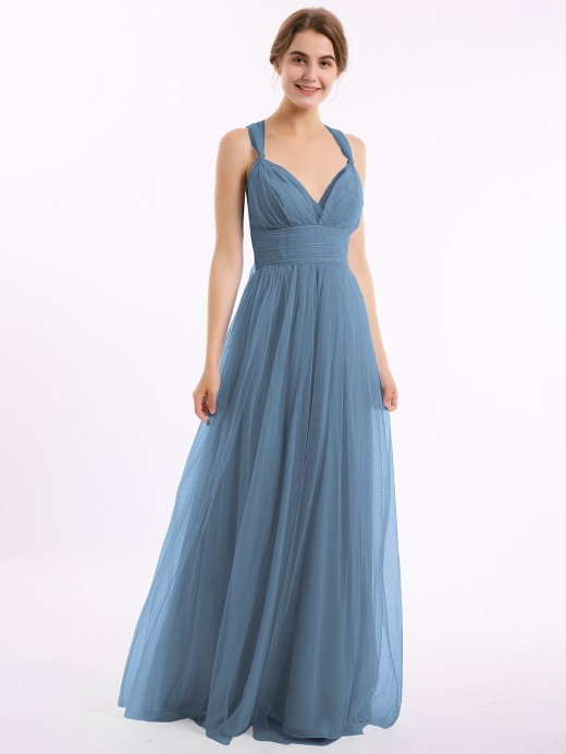 Babaroni Evelyn Convertible Back Floor Length Tulle Dresses