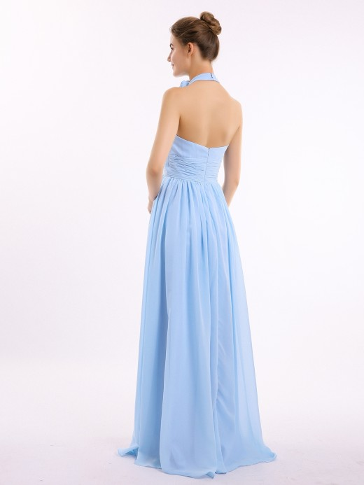 Babaroni Kaia Halter Chiffon Full Length Dress with Flowers