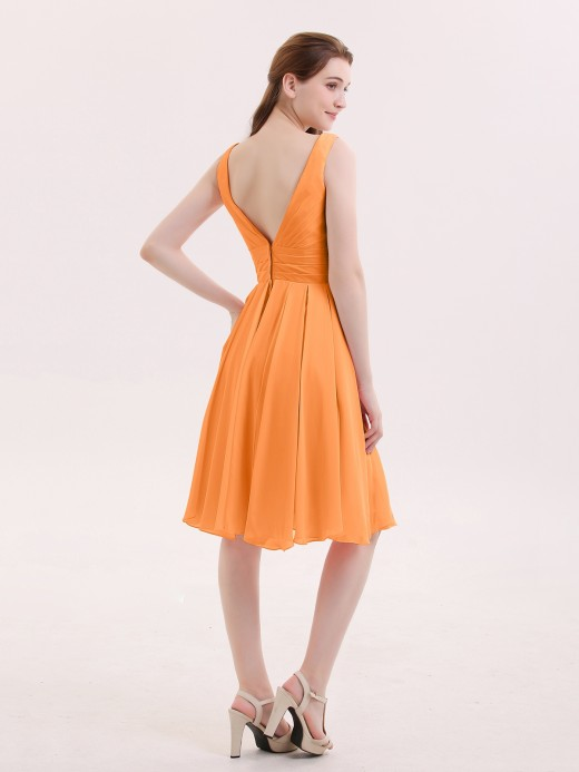 Babaroni Mabel Short Chiffon Dress with V Neckline