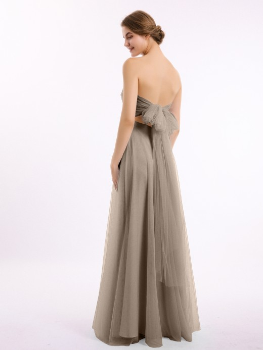 Babaroni Marcia Sweetheart Strapless Neck Tulle Dresses with Bow