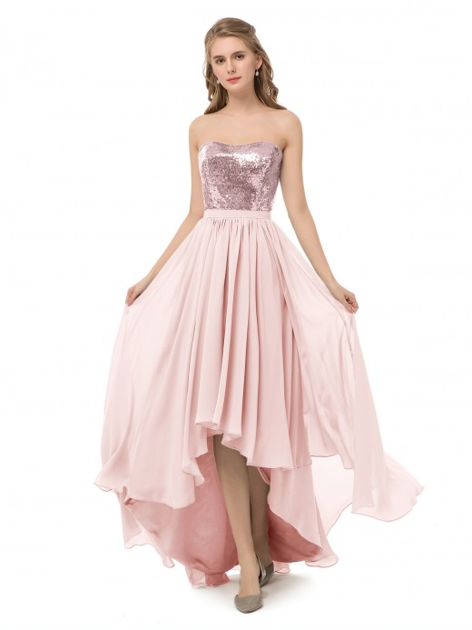 Babaroni Marguerite Strapless High Low Dress with Sequins Bodice