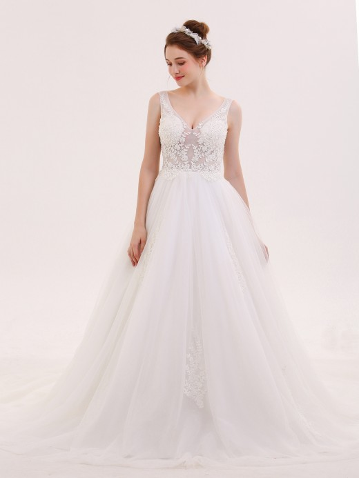 Babaroni Maureen V-neck See Through Beaded Wedding Dress