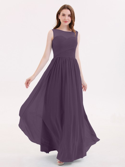 Melissa Long Chiffon Gowns with Illusion Neckline US8