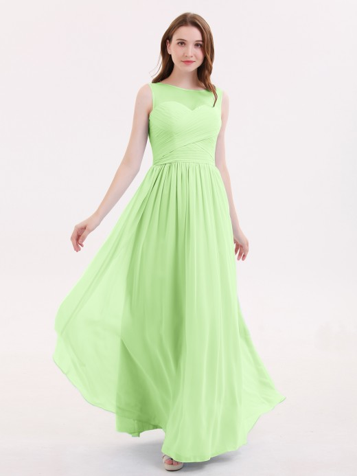 Babaroni Melissa Long Chiffon Gowns with Illusion Neckline