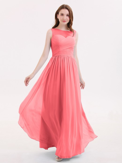 Sage Chiffon Pleated Bateau All Red Bridesmaid dresses & Red ...