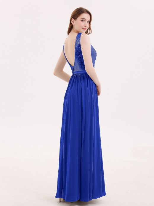 Babaroni Ophelia Sequins and Chiffon Dress with Slit