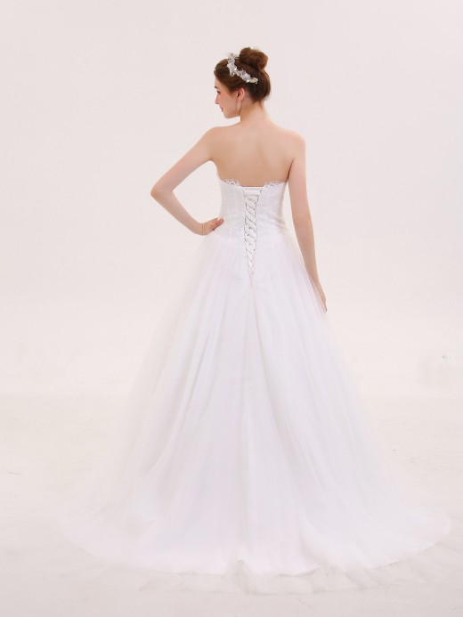 Babaroni Queena Tulle with Appliqued Strapless Bridal Dress