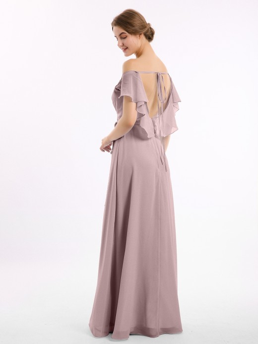 Babaroni Sally Cap Sleeves Chiffon Bridesmaid Dresses with Slit