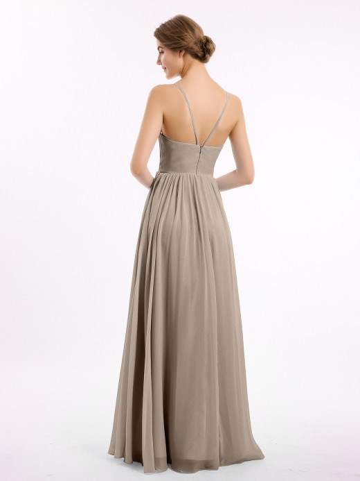 Babaroni Teagan Chiffon Bridesmaid Dresses with Spaghetti Straps