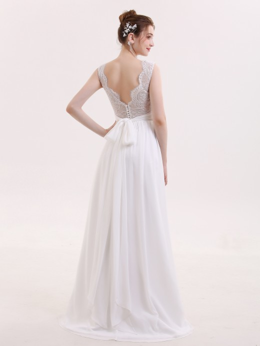 Babaroni Veromca V-neck Chiffon Beach Wedding Dress with Bow
