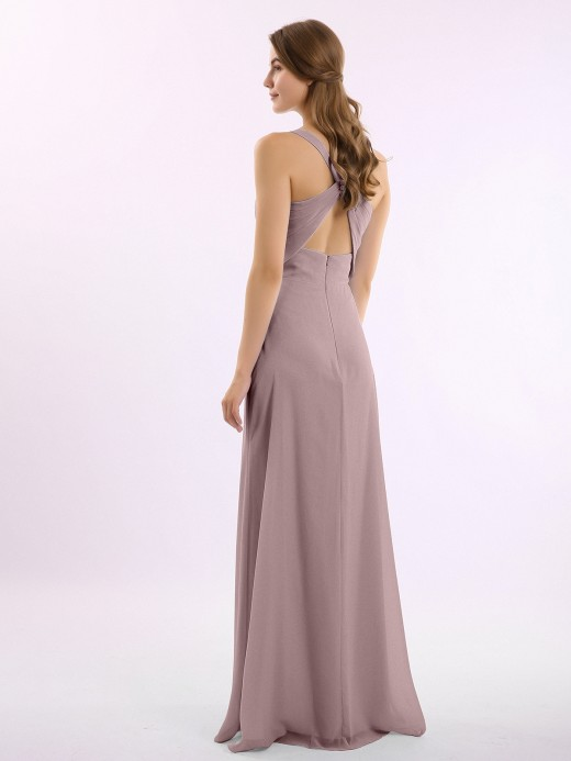Babaroni Vita V-neck Chiffon Bridesmaid Dress with Open Back