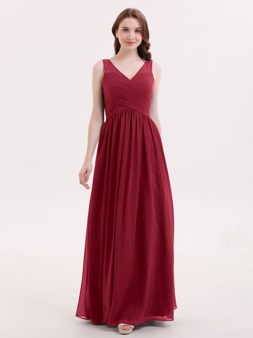 A-line Chiffon Burgundy Zipper Lace, Ruched, Pleated Floor-length V-neck Sleeveless Chiffon Bridesmaid Dresses