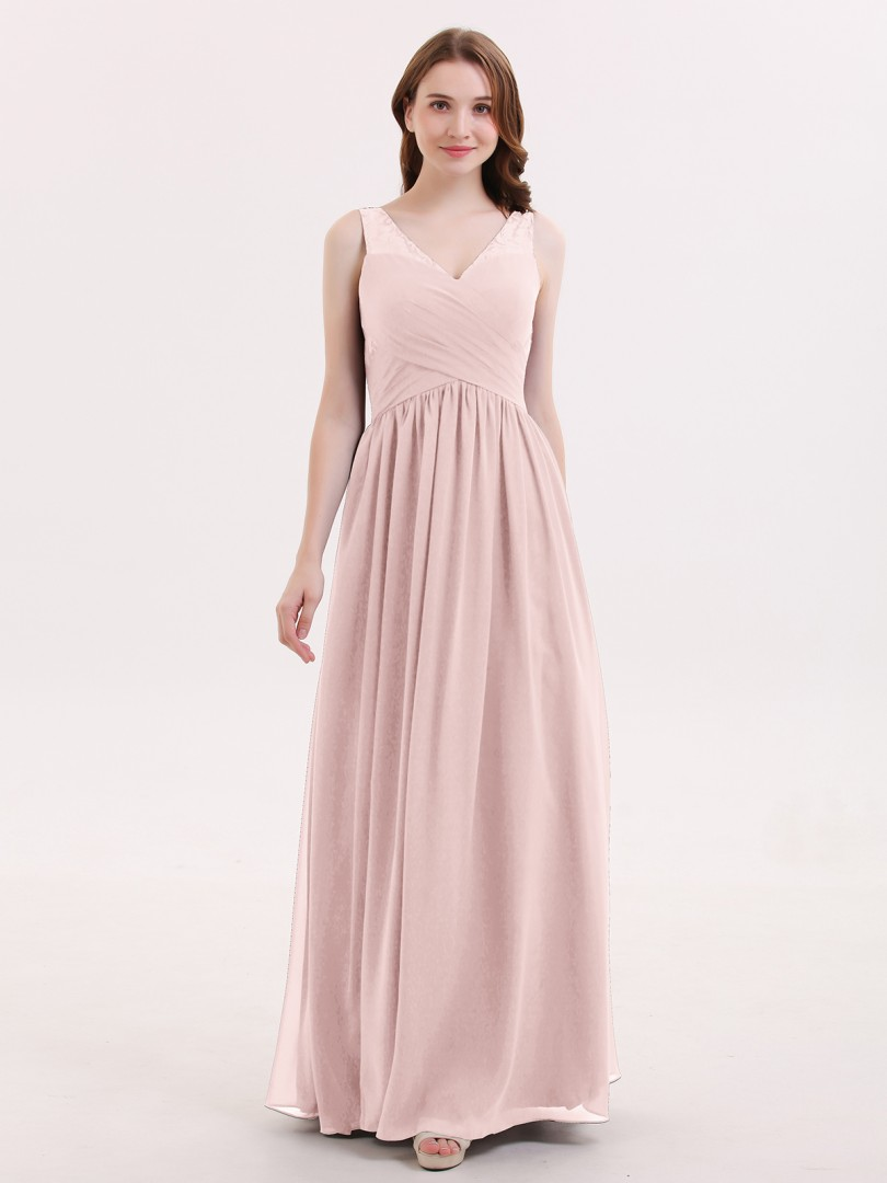 e4f6d4c4328 Dusty Rose Adalyn V Neck Chiffon and Lace Maxi Bridesmaid Gown ...