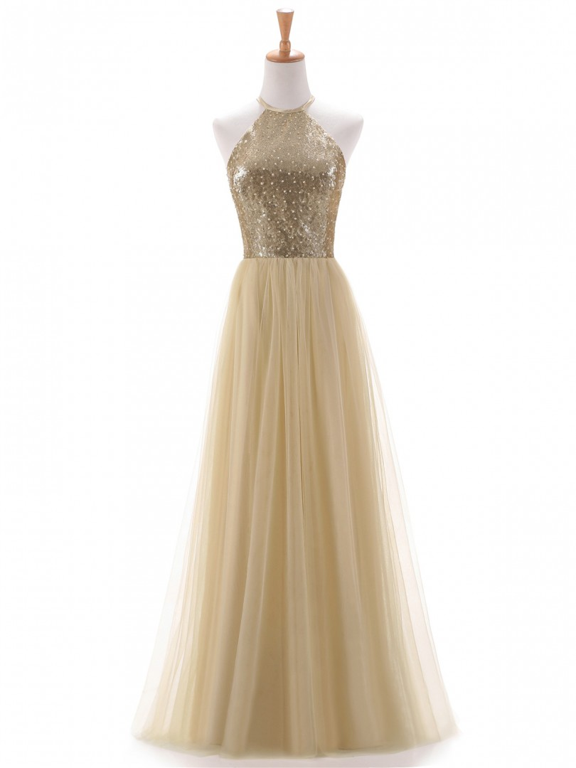 A-line Sequin Champagne Zipper Beaded, Ruched Floor-length Halter Sleeveless Prom Dresses