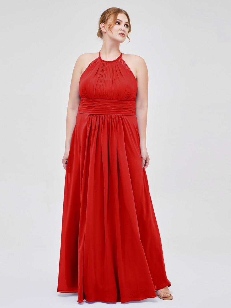 A-line Chiffon Cabernet Zipper Lace, Ruched, Pleated Floor-length Halter Sleeveless Long Bridesmaid Dresses