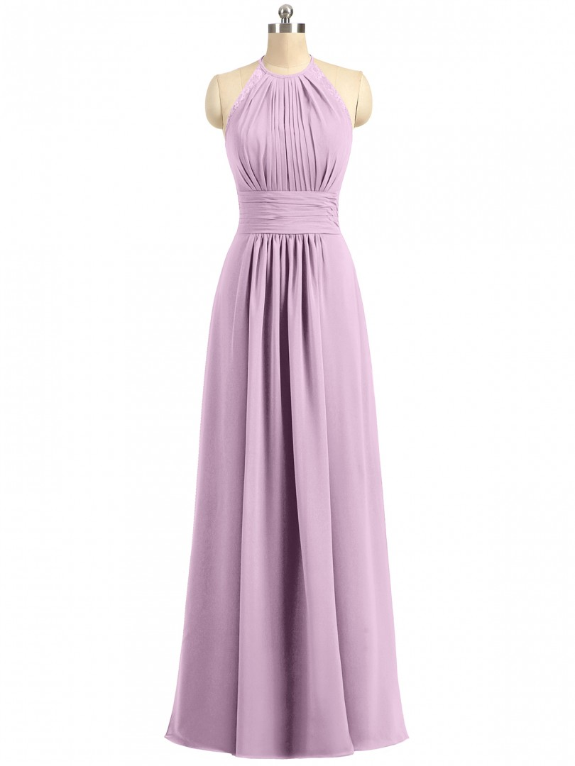 A-line Chiffon Dark Green Zipper Lace, Ruched, Pleated Floor-length Halter Sleeveless Long Bridesmaid Dresses