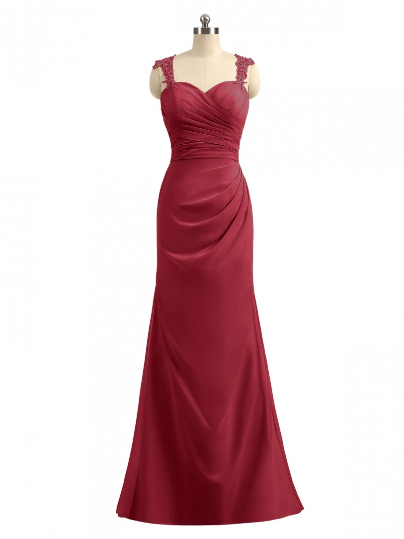 Sheath/Column Chiffon Regency Zipper Appliqued, Pleated Floor-length Sweetheart Straps Long Bridesmaid Dresses