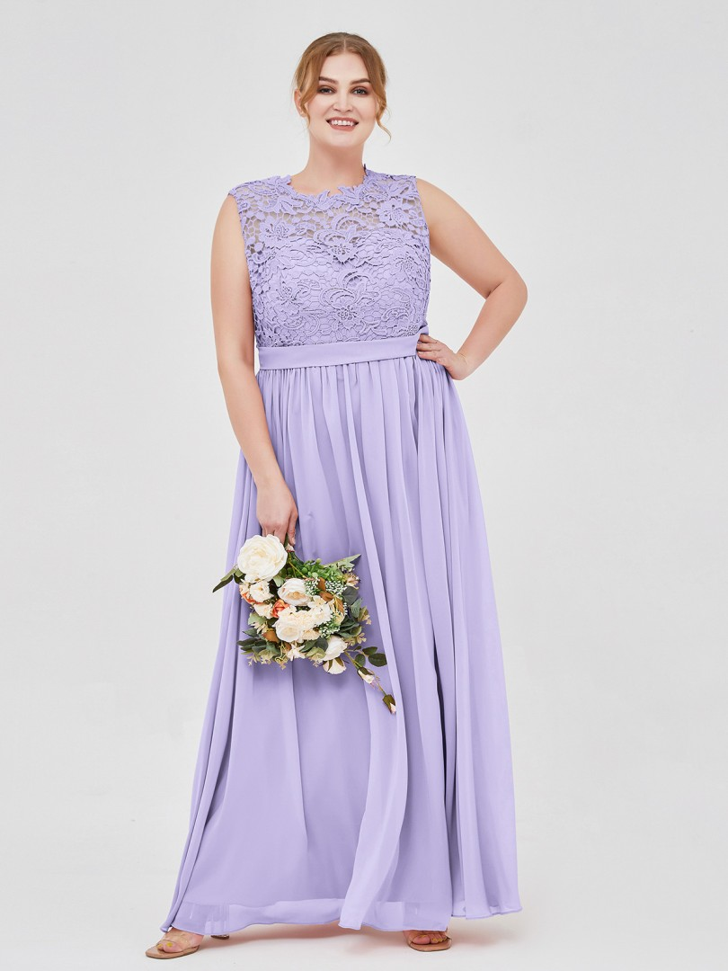 A-line Chiffon Lilac Zipper Lace, Ruched, Sash Floor-length Scoop Sleeveless Bridesmaid Dresses
