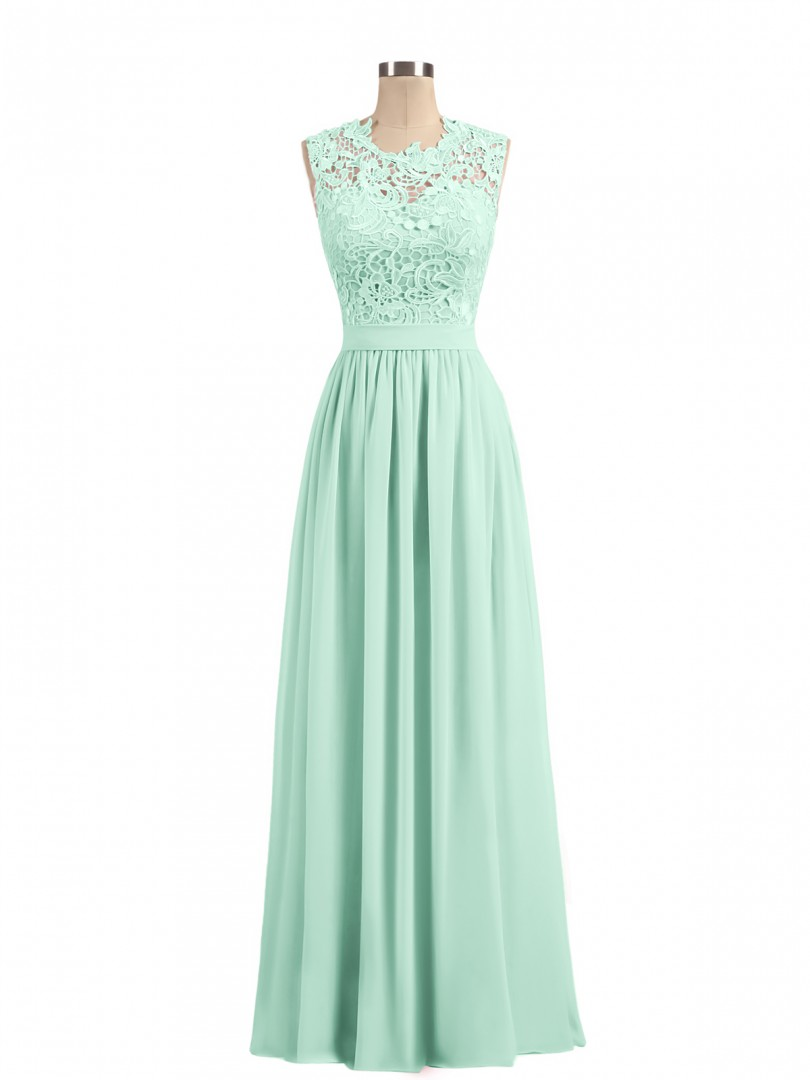 A-line Chiffon Lilac Zipper Lace, Ruched, Sash Floor-length Scoop Sleeveless Long Bridesmaid Dresses