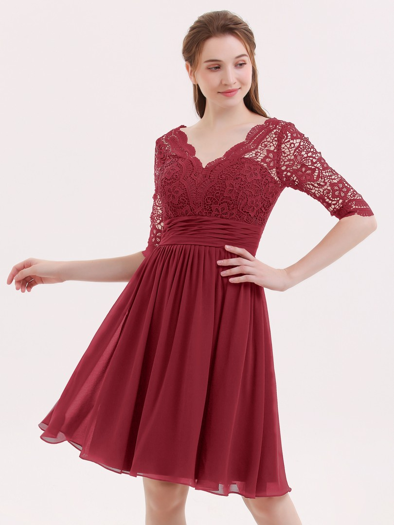 A-line Chiffon Burgundy Zipper Lace, Ruched, Pleated Knee-length V-neck 3/4-Length Prom Dresses