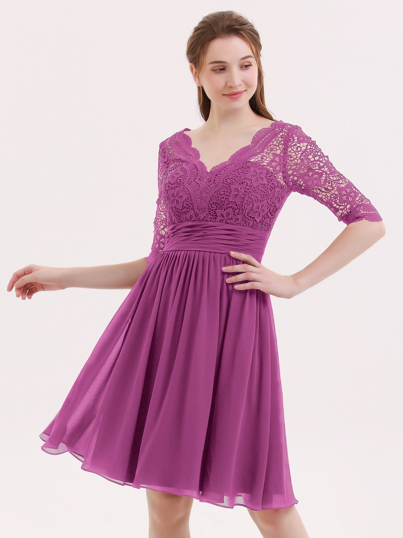 A-line Chiffon Burgundy Zipper Lace, Ruched, Pleated Knee-length V-neck 3/4-Length Wedding Party