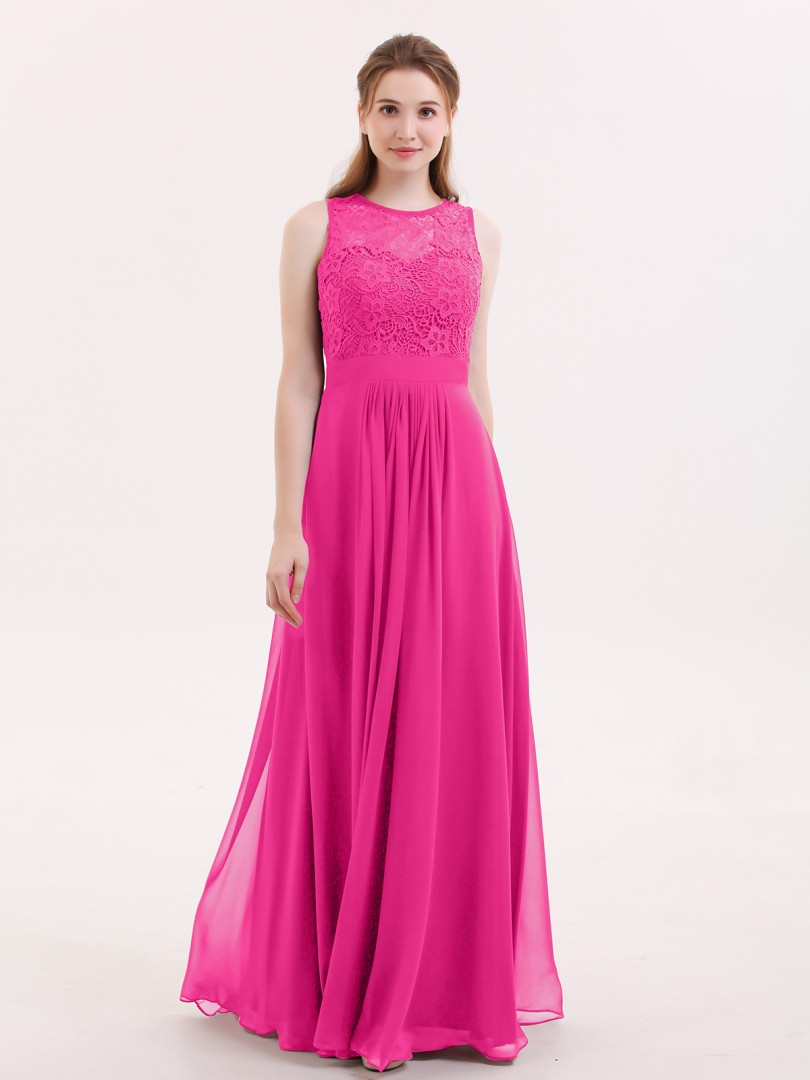 A-line Chiffon Fuchsia Zipper Lace, Ruched Floor-length Scoop Sleeveless Prom Dresses