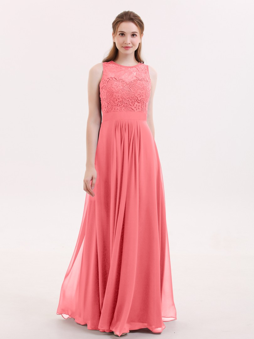 A-line Chiffon Fuchsia Zipper Lace, Ruched Floor-length Scoop Sleeveless Long Bridesmaid Dresses