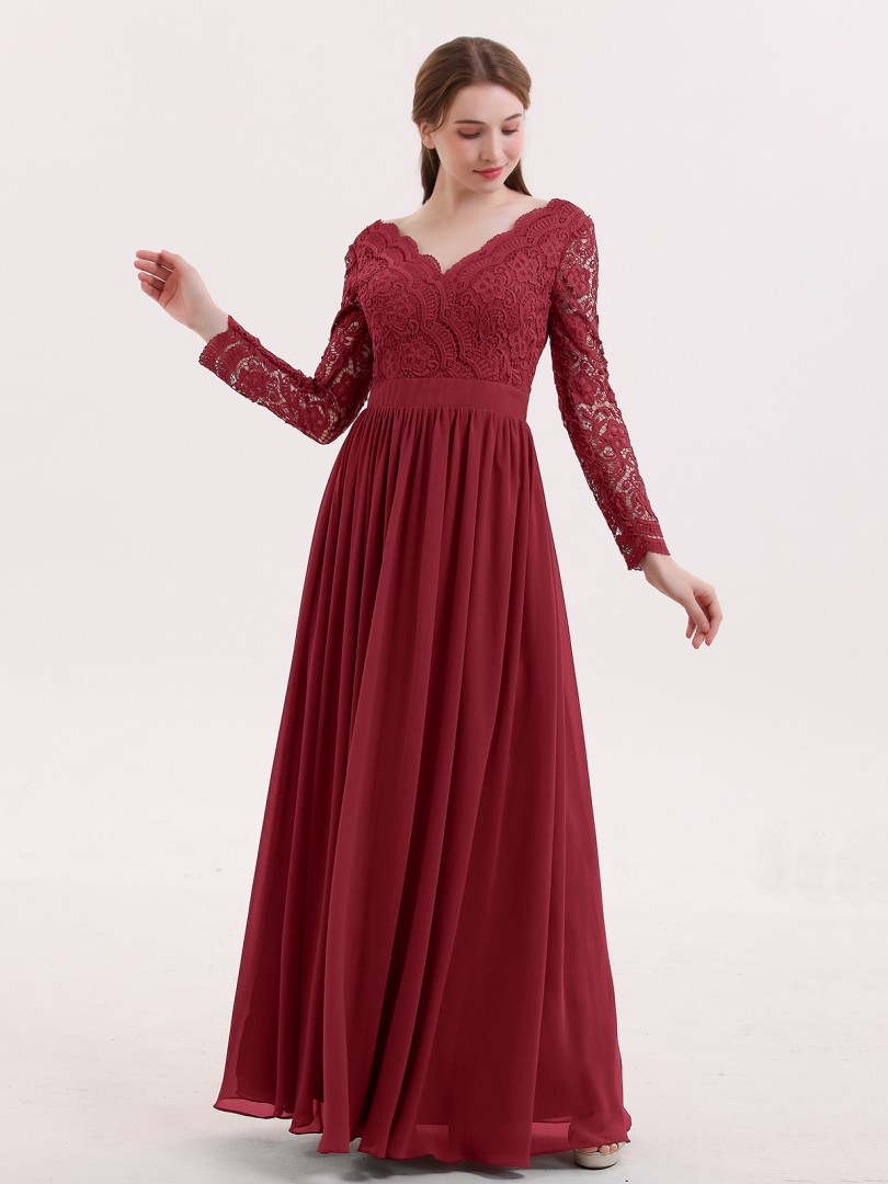A-line Lace Cabernet Zipper Lace, Ruched Floor-length V-neck Long Sleeve Bridesmaid Dresses