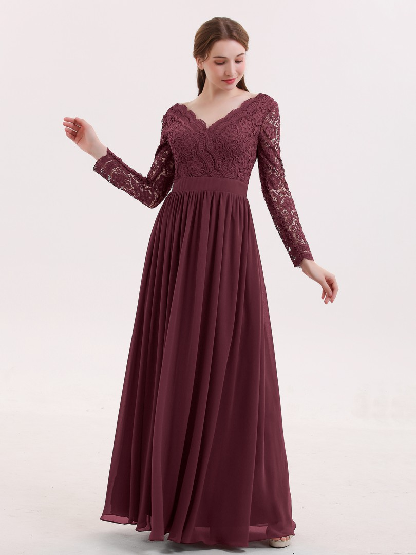 A-line Lace Cabernet Zipper Lace, Ruched Floor-length V-neck Long Sleeve Prom Dresses