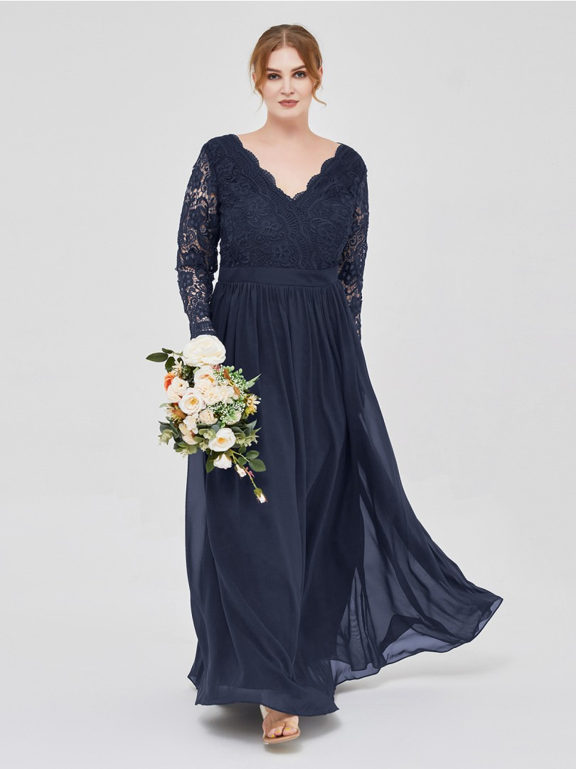 A-line Lace Dark Navy Zipper Lace, Ruched Floor-length V-neck Long Sleeve Best Sellers