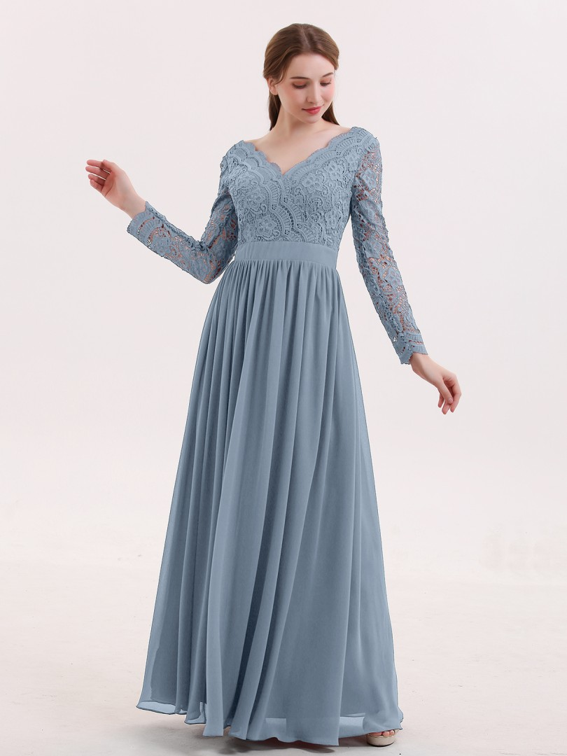 16571b65711 Dusty Blue Alina V Neck Lace and Chiffon Dress with Long Sleeves ...