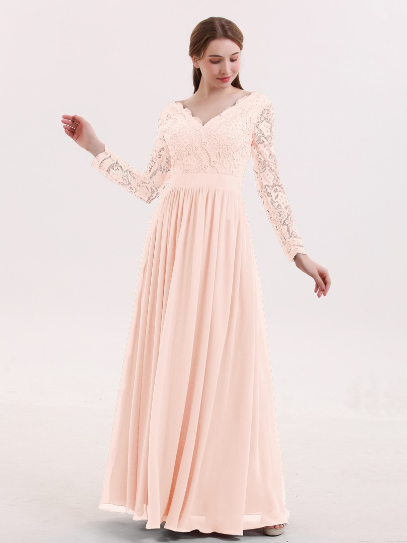 e9a56f5736 Pearl Pink Alina V Neck Lace and Chiffon Dress with Long Sleeves ...