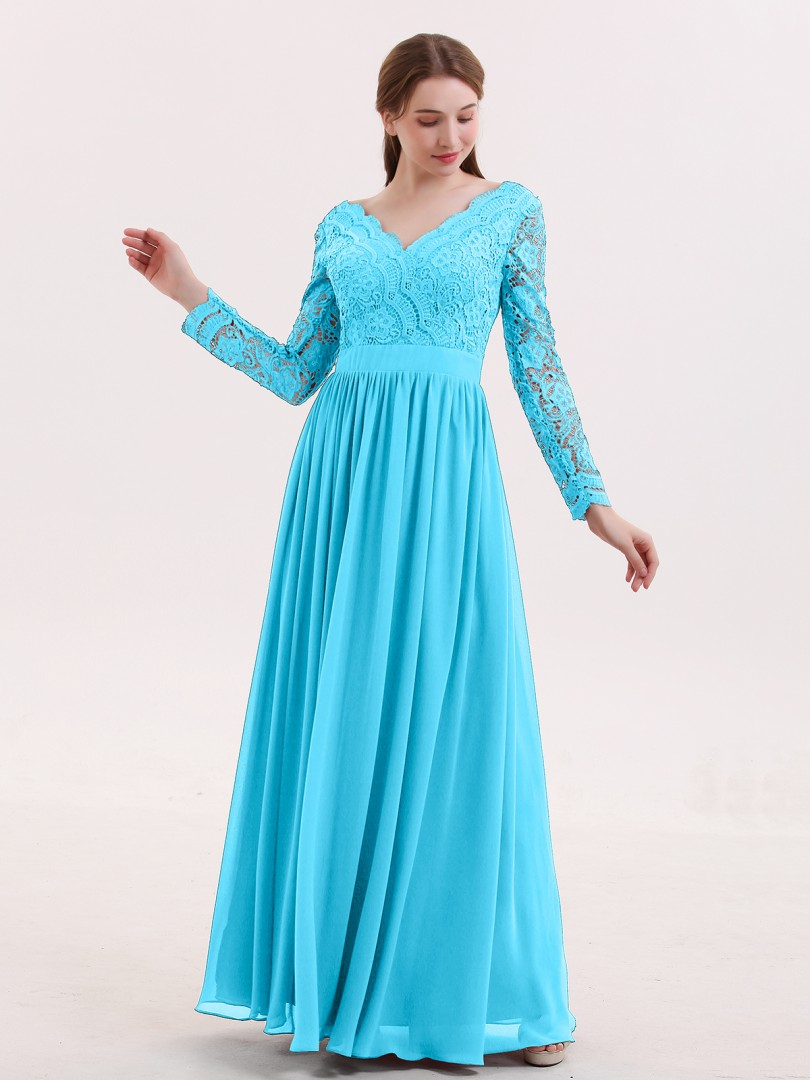 A-line Lace Cabernet Zipper Lace, Ruched Floor-length V-neck Long Sleeve Sexy Prom Dresses