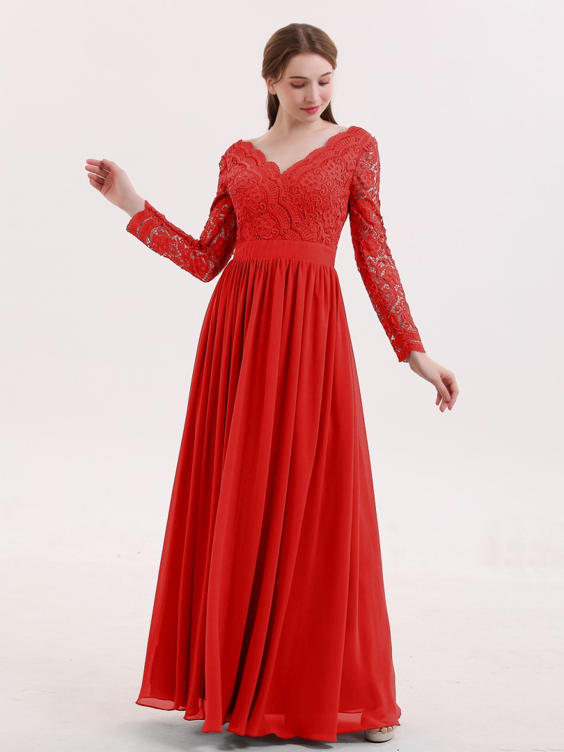 4027b8d234af Red Alina V Neck Lace and Chiffon Dress with Long Sleeves