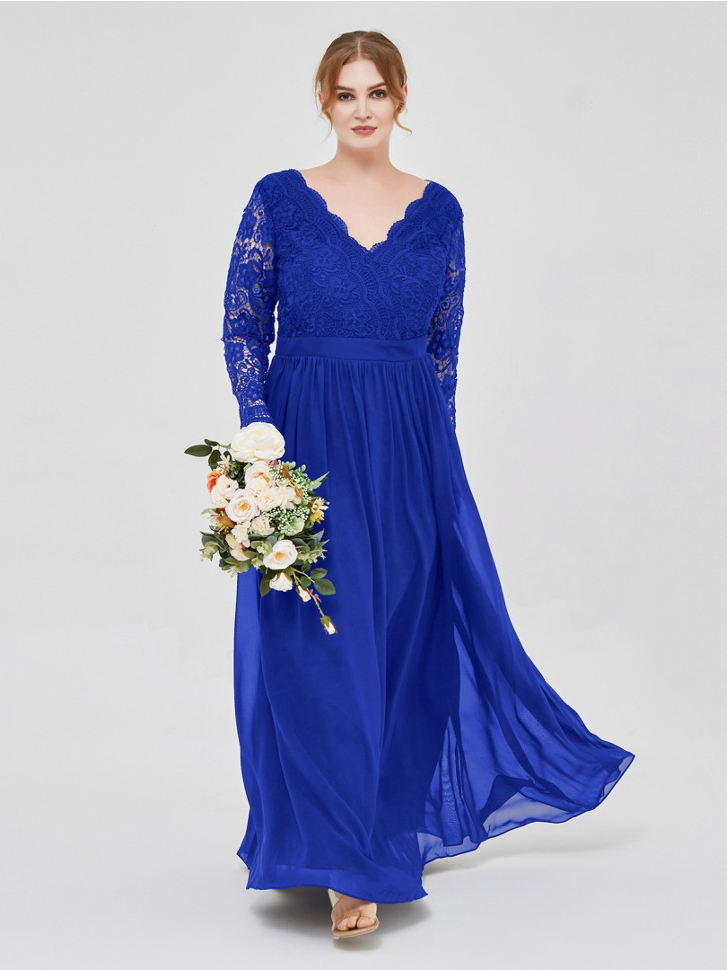 A-line Lace Dark Navy Zipper Lace, Ruched Floor-length V-neck Long Sleeve Sexy Prom Dresses