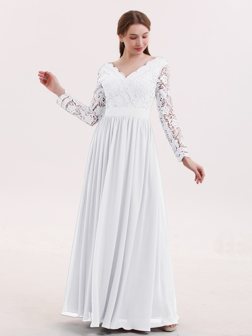 A-line Lace Cabernet Zipper Lace, Ruched Floor-length V-neck Long Sleeve Wedding Party