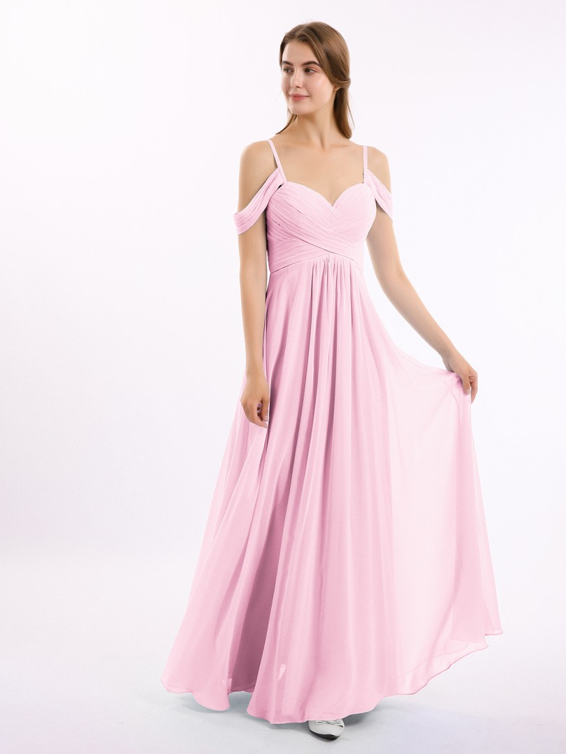 A-line Chiffon Slate Blue Zipper Ruched, Pleated Floor-length Off-the-shoulder Spaghetti Straps Bridesmaid Dresses